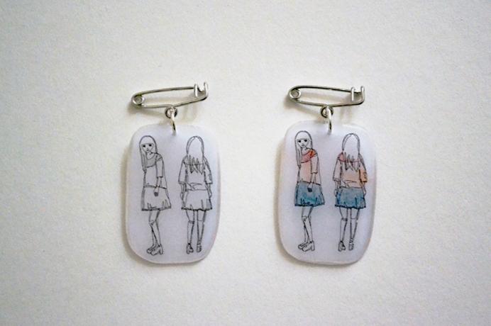 girl illustration brooch