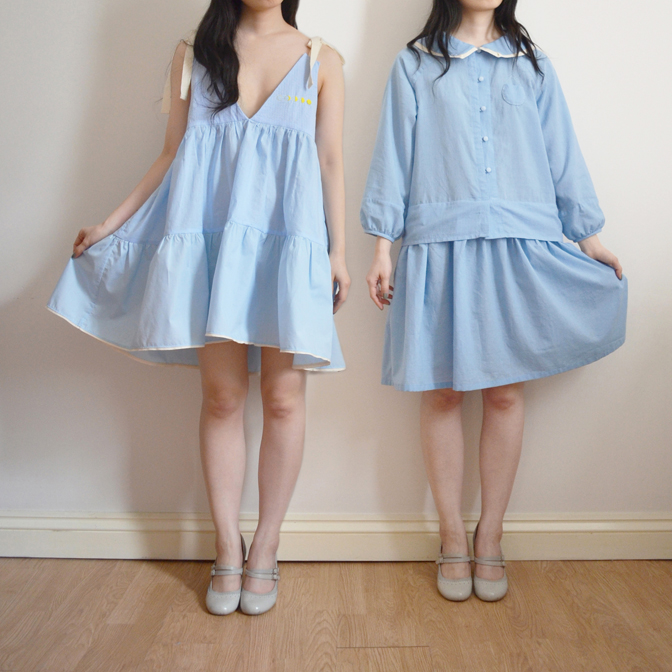 commissioned sisters' dresses in blue