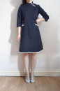 commissioned stand collar dress in navy