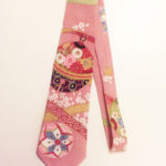 tie made from Japanese chirimen fabric