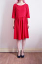 bright red boat neck dress