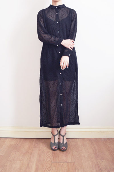 sheer black shirt dress